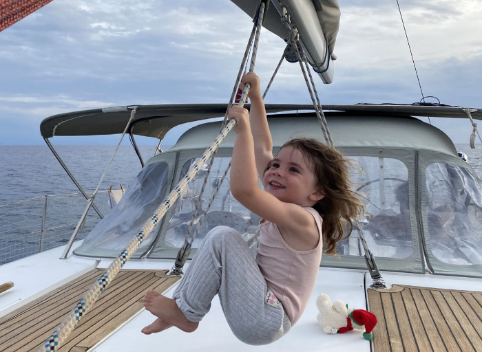 kid on a boat